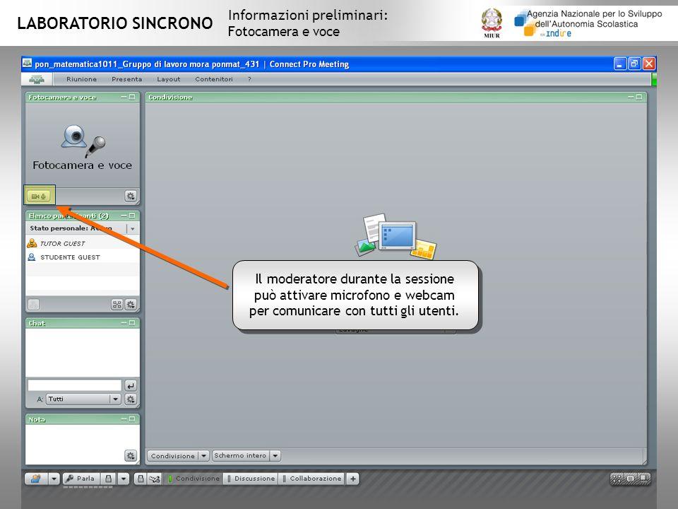 LABORATORIO SINCRONO Informazioni preliminari: Fotocamera e voce Il moderatore durante la sessione può attivare microfono e webcam per comunicare con tutti gli utenti.