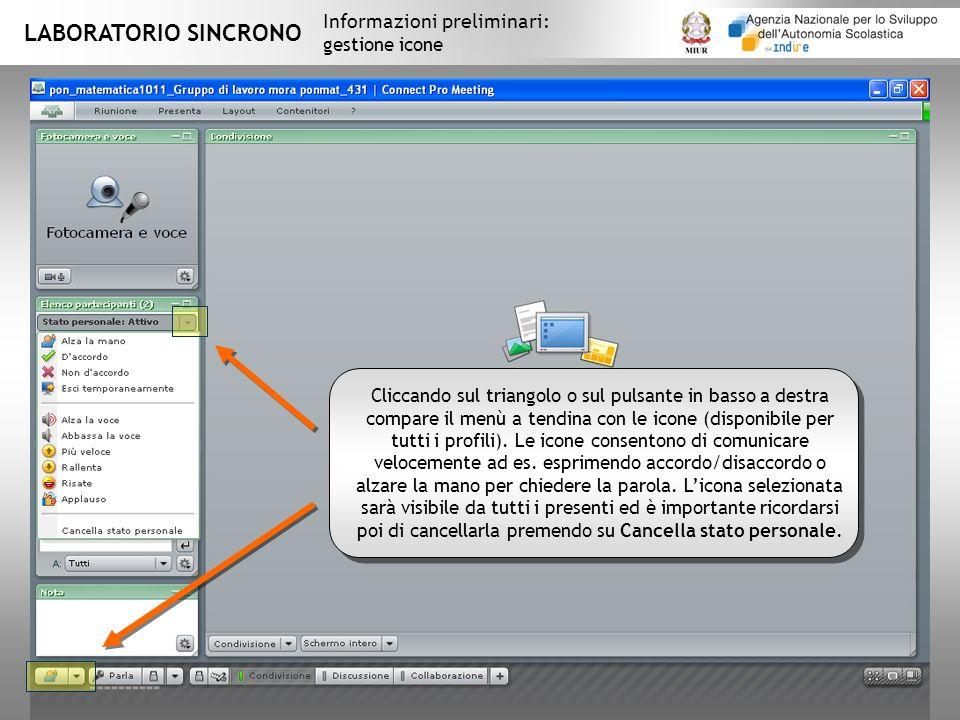 LABORATORIO SINCRONO Informazioni preliminari: gestione icone Cliccando sul triangolo o sul pulsante in basso a destra compare il menù a tendina con le icone (disponibile per tutti i profili).