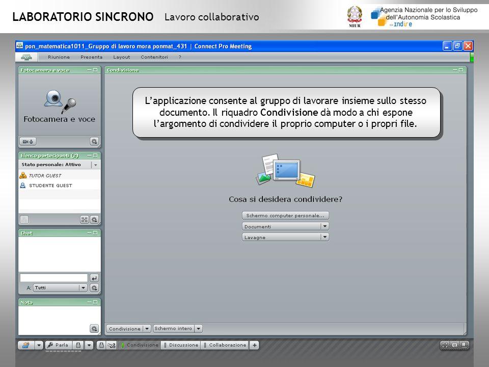 LABORATORIO SINCRONO Lavoro collaborativo Lapplicazione consente al gruppo di lavorare insieme sullo stesso documento.