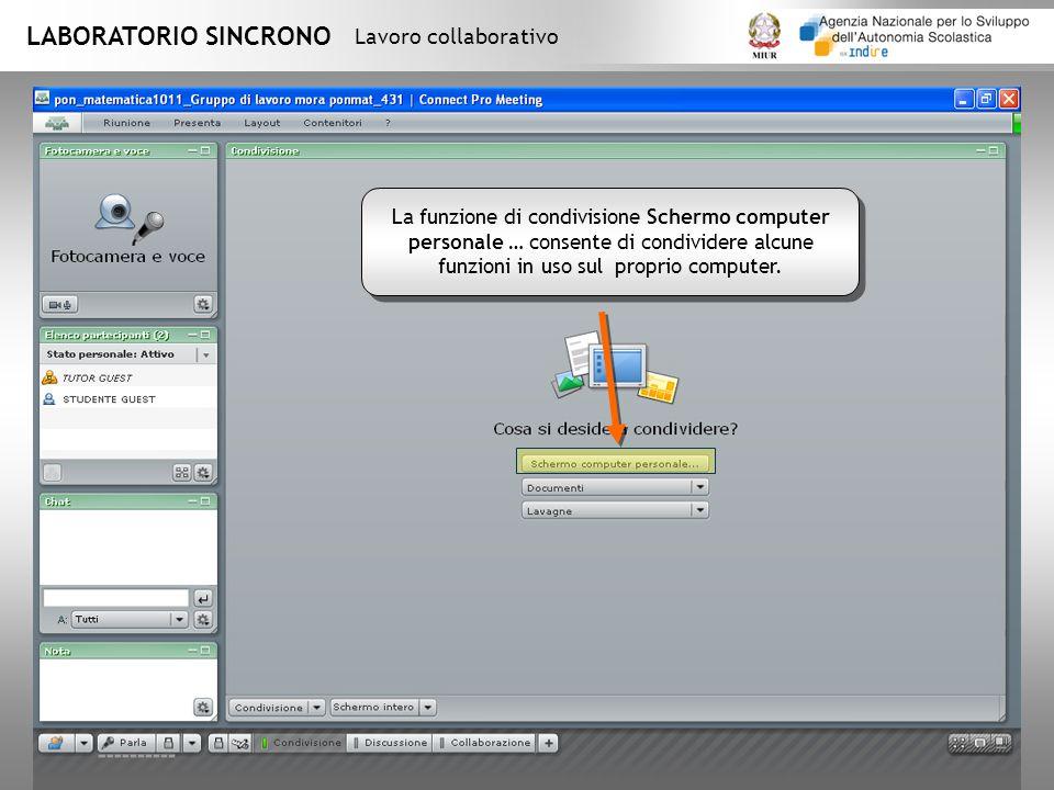 LABORATORIO SINCRONO Lavoro collaborativo La funzione di condivisione Schermo computer personale … consente di condividere alcune funzioni in uso sul proprio computer.