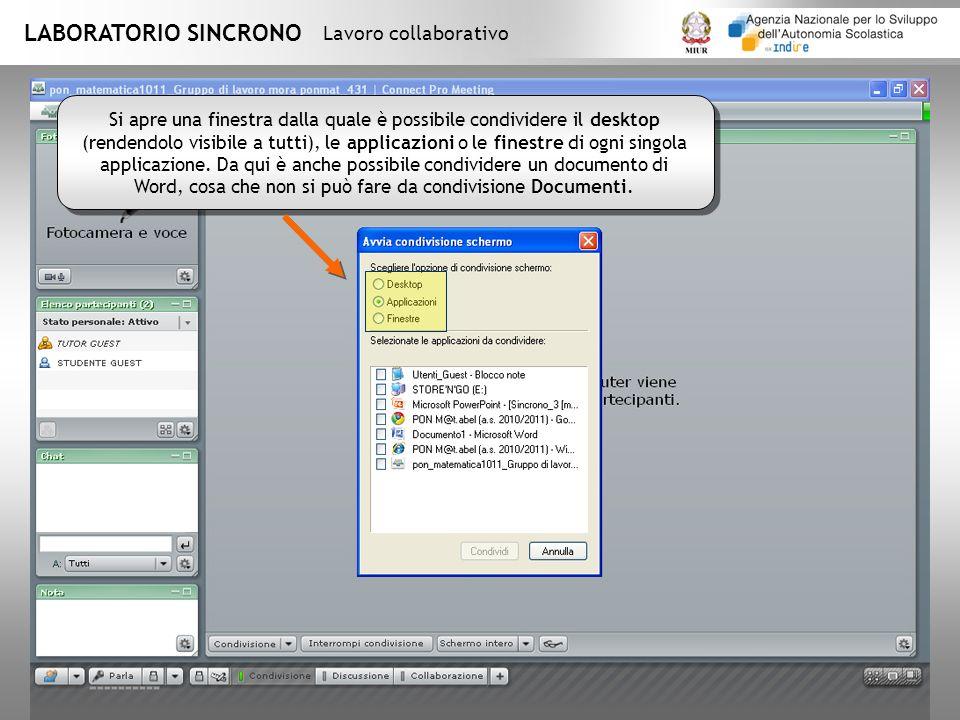 LABORATORIO SINCRONO Lavoro collaborativo Si apre una finestra dalla quale è possibile condividere il desktop (rendendolo visibile a tutti), le applicazioni o le finestre di ogni singola applicazione.