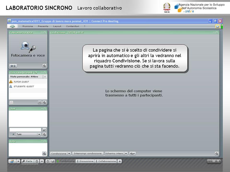 LABORATORIO SINCRONO Lavoro collaborativo La pagina che si è scelto di condividere si aprirà in automatico e gli altri la vedranno nel riquadro Condivisione.