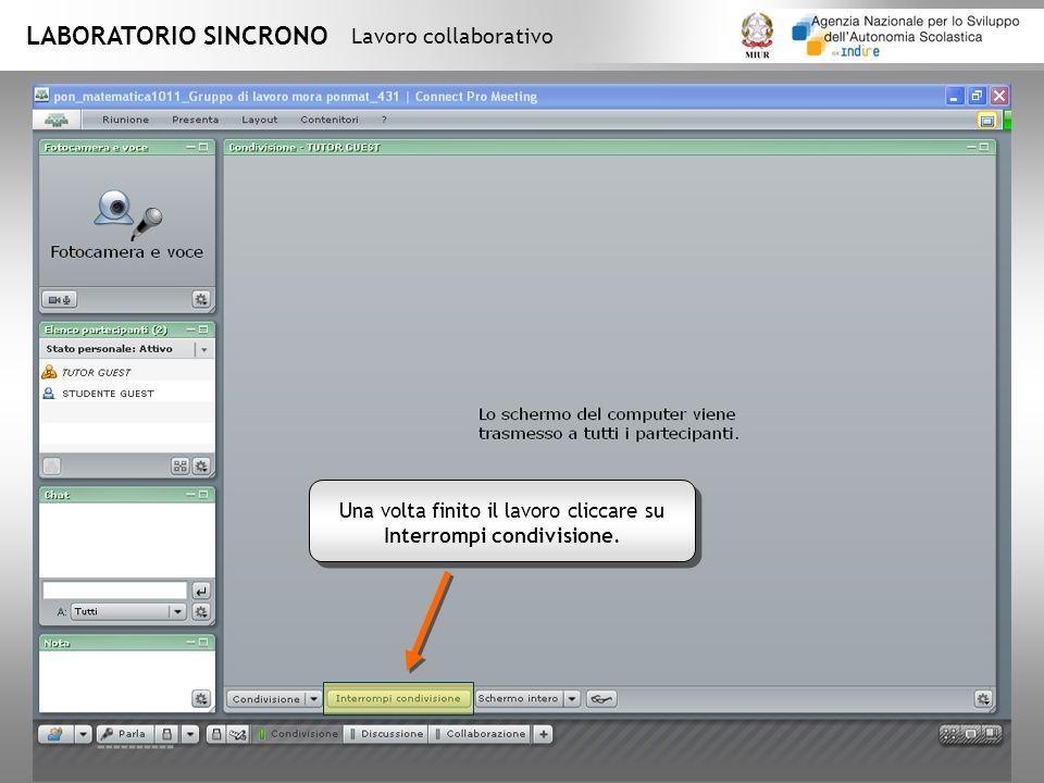 LABORATORIO SINCRONO Lavoro collaborativo Una volta finito il lavoro cliccare su Interrompi condivisione.