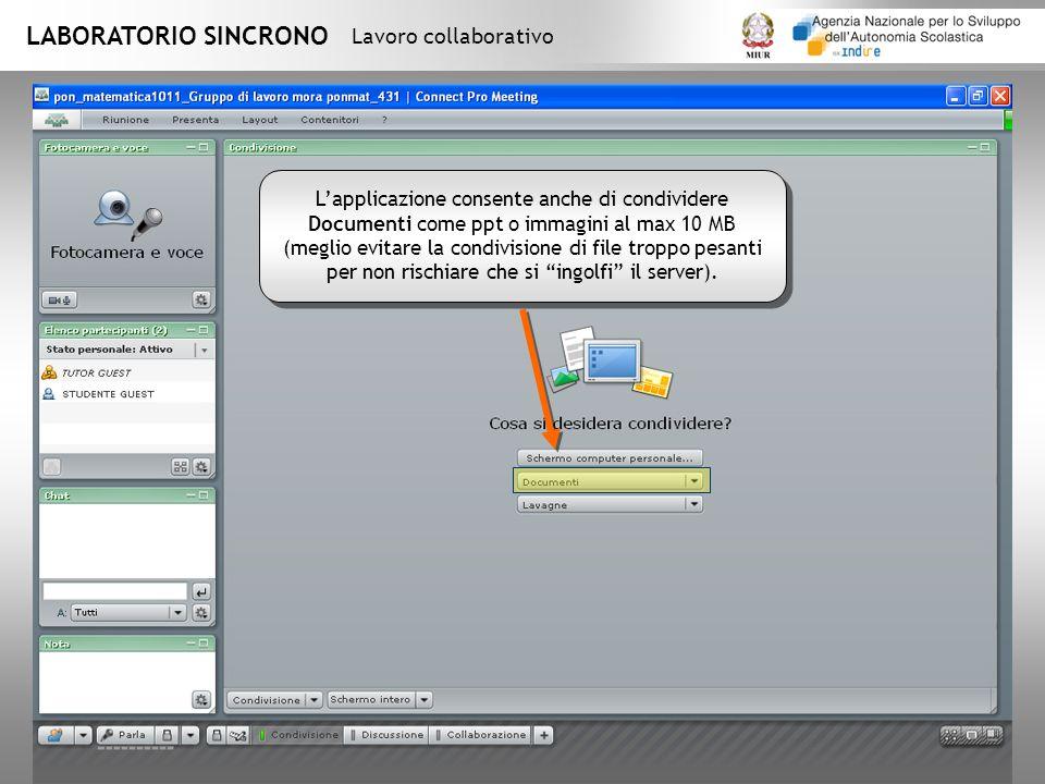 LABORATORIO SINCRONO Lavoro collaborativo Lapplicazione consente anche di condividere Documenti come ppt o immagini al max 10 MB (meglio evitare la condivisione di file troppo pesanti per non rischiare che si ingolfi il server).