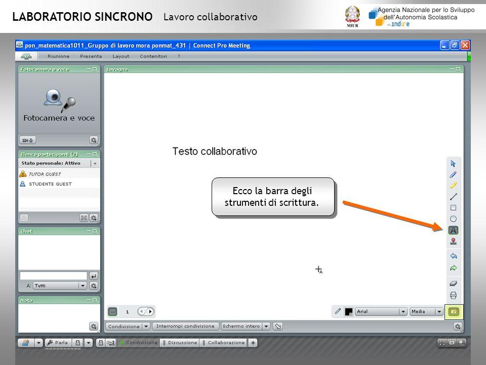 LABORATORIO SINCRONO Lavoro collaborativo Ecco la barra degli strumenti di scrittura.