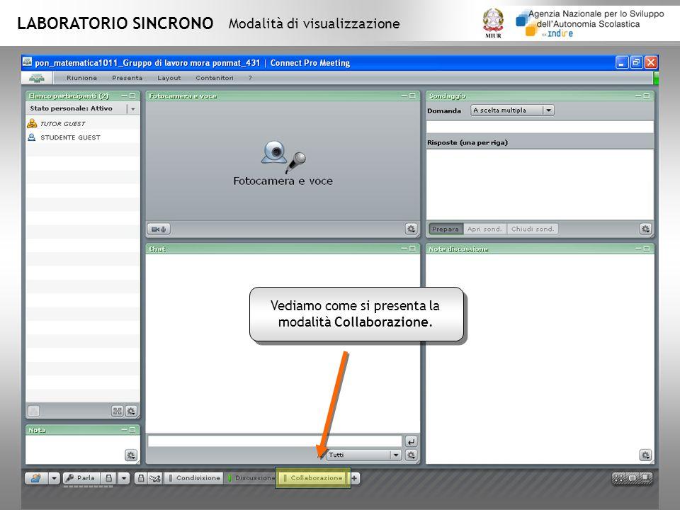 LABORATORIO SINCRONO Modalità di visualizzazione Vediamo come si presenta la modalità Collaborazione.