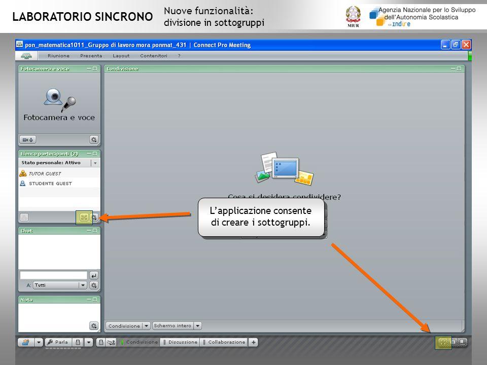 LABORATORIO SINCRONO Nuove funzionalità: divisione in sottogruppi Lapplicazione consente di creare i sottogruppi.