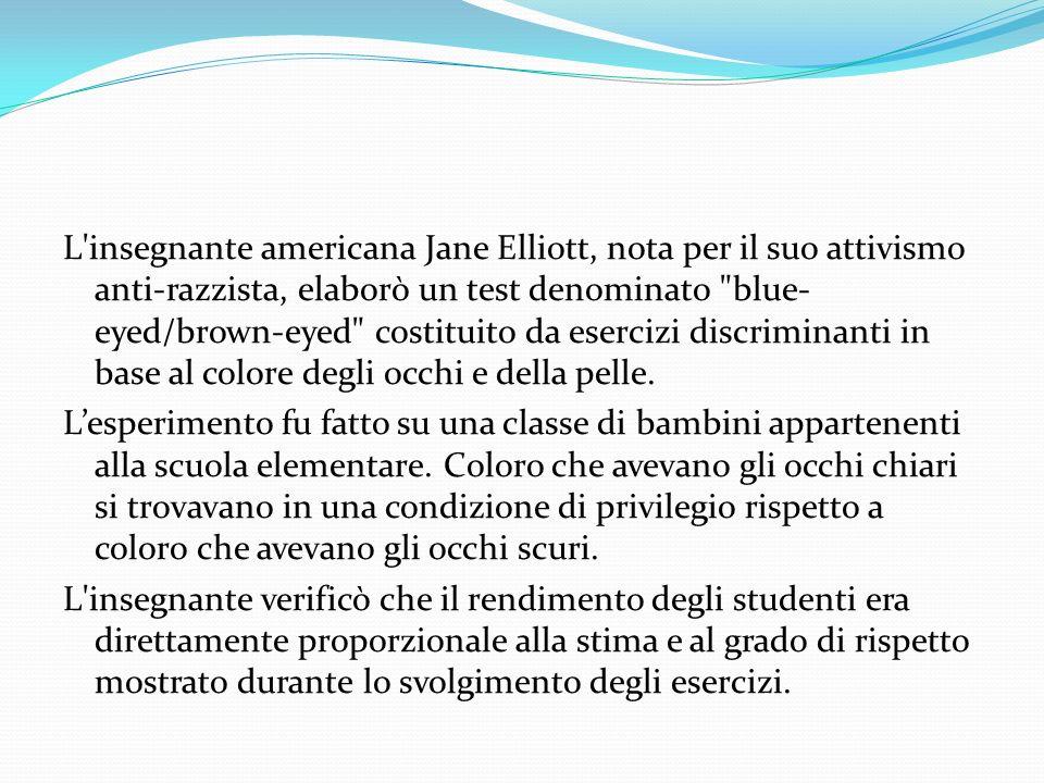 L'insegnante americana Jane Elliott, nota per il suo attivismo anti-razzista, elaborò un test denominato
