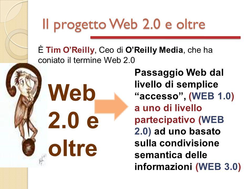 Il progetto Web 2.0 e oltre È Tim OReilly, Ceo di OReilly Media, che ha coniato il termine Web 2.0 Web 2.0 e oltre Passaggio Web dal livello di semplice accesso, (WEB 1.0) a uno di livello partecipativo (WEB 2.0) ad uno basato sulla condivisione semantica delle informazioni (WEB 3.0)