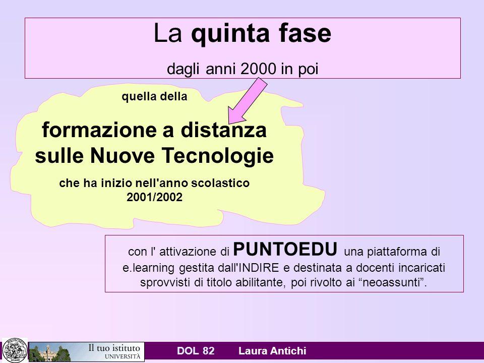 DOL 82 Laura Antichi La quinta fase dagli anni 2000 in poi con l attivazione di PUNTOEDU una piattaforma di e.learning gestita dall INDIRE e destinata a docenti incaricati sprovvisti di titolo abilitante, poi rivolto ai neoassunti.