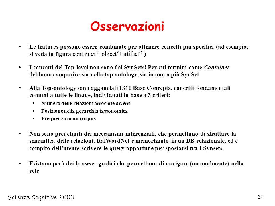 Scienze Cognitive 2003 21 Osservazioni Le features possono essere combinate per ottenere concetti più specifici (ad esempio, si veda in figura contain