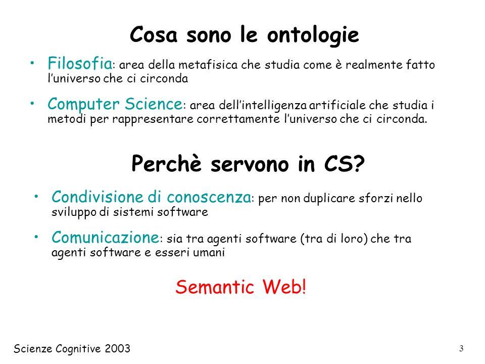 Scienze Cognitive 2003 24 Constraint Language (Logica dei predicati) CycL (linguaggio basato su frame) 2 componenti