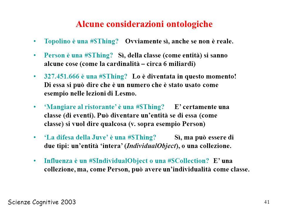 Scienze Cognitive 2003 41 Alcune considerazioni ontologiche Topolino è una #$Thing? Person è una #$Thing? 327.451.666 è una #$Thing? Mangiare al risto
