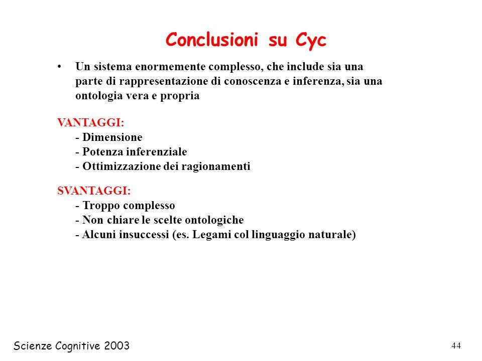 Scienze Cognitive 2003 44 Conclusioni su Cyc Un sistema enormemente complesso, che include sia una parte di rappresentazione di conoscenza e inferenza