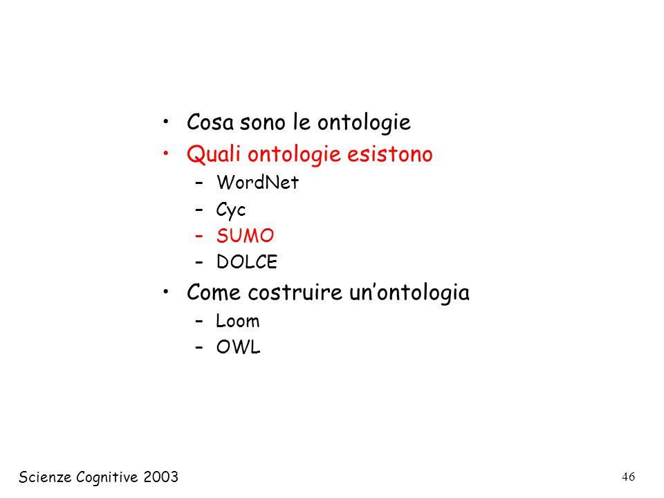 Scienze Cognitive 2003 46 Cosa sono le ontologie Quali ontologie esistono –WordNet –Cyc –SUMO –DOLCE Come costruire unontologia –Loom –OWL