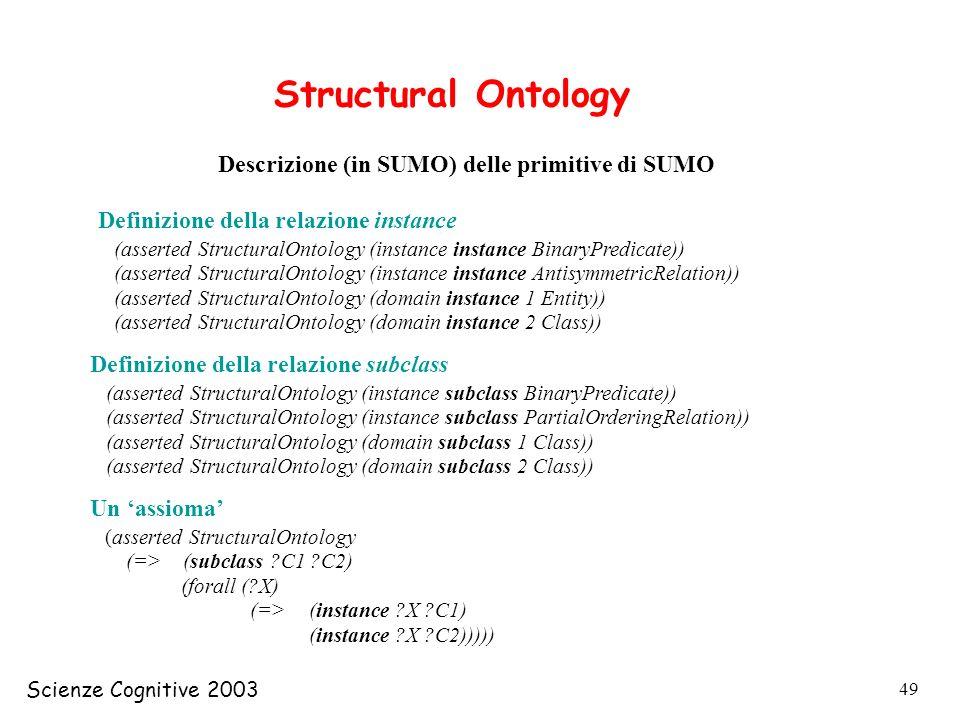 Scienze Cognitive 2003 49 Structural Ontology Descrizione (in SUMO) delle primitive di SUMO (asserted StructuralOntology (instance instance BinaryPred