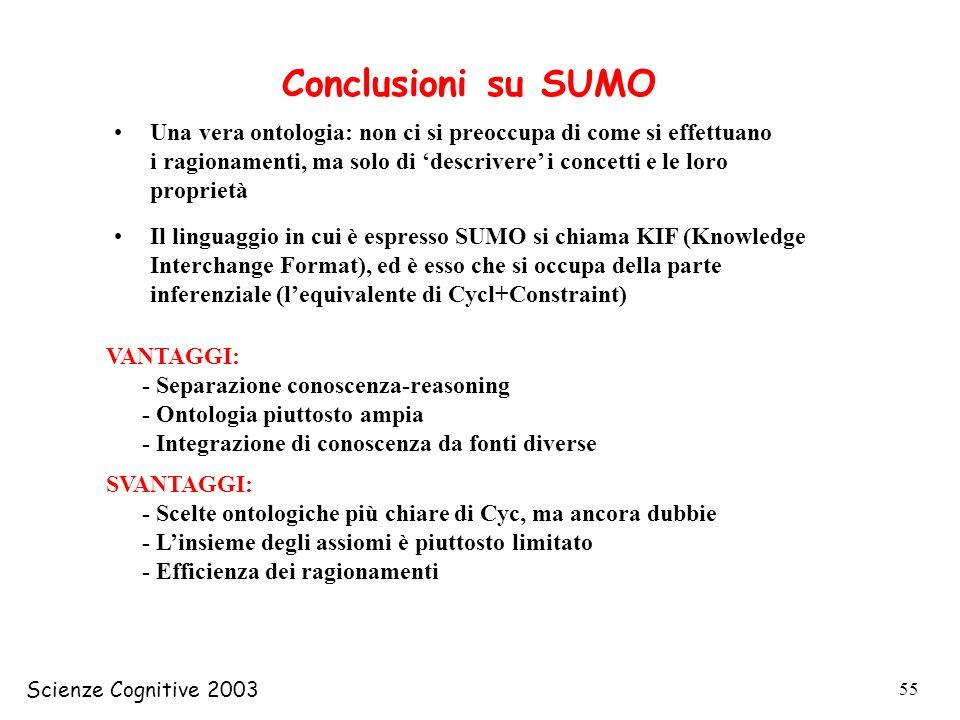 Scienze Cognitive 2003 55 Conclusioni su SUMO Una vera ontologia: non ci si preoccupa di come si effettuano i ragionamenti, ma solo di descrivere i co