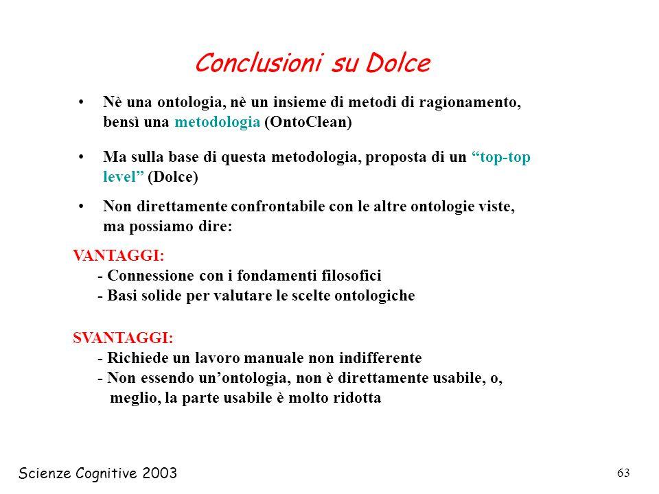 Scienze Cognitive 2003 63 Conclusioni su Dolce Nè una ontologia, nè un insieme di metodi di ragionamento, bensì una metodologia (OntoClean) Ma sulla b