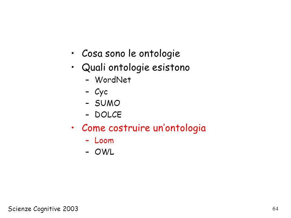 Scienze Cognitive 2003 64 Cosa sono le ontologie Quali ontologie esistono –WordNet –Cyc –SUMO –DOLCE Come costruire unontologia –Loom –OWL