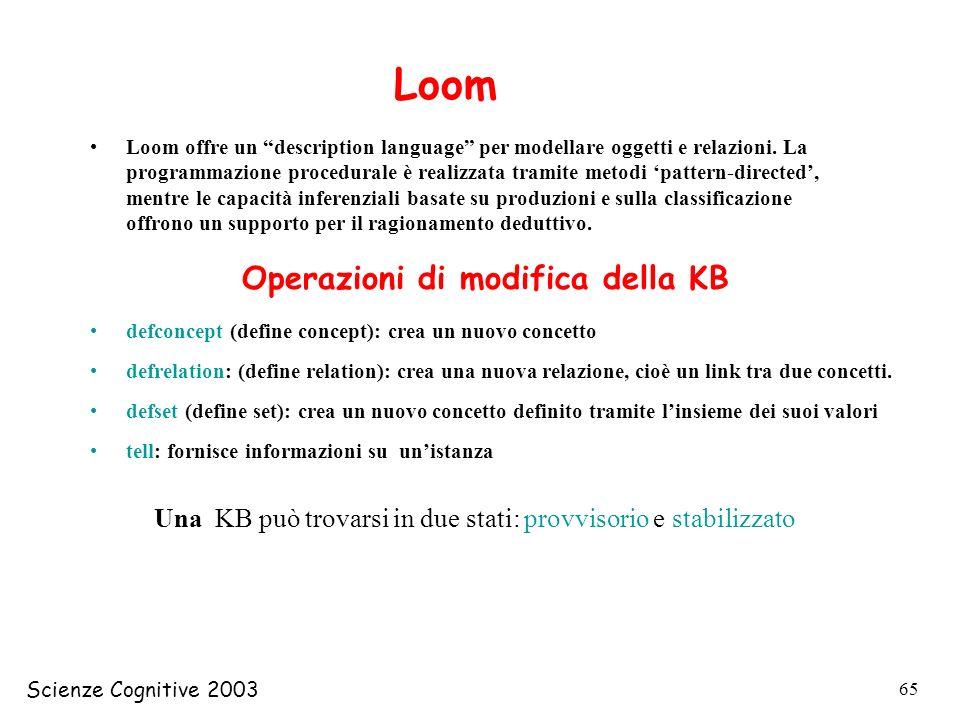 Scienze Cognitive 2003 65 Loom Loom offre un description language per modellare oggetti e relazioni. La programmazione procedurale è realizzata tramit