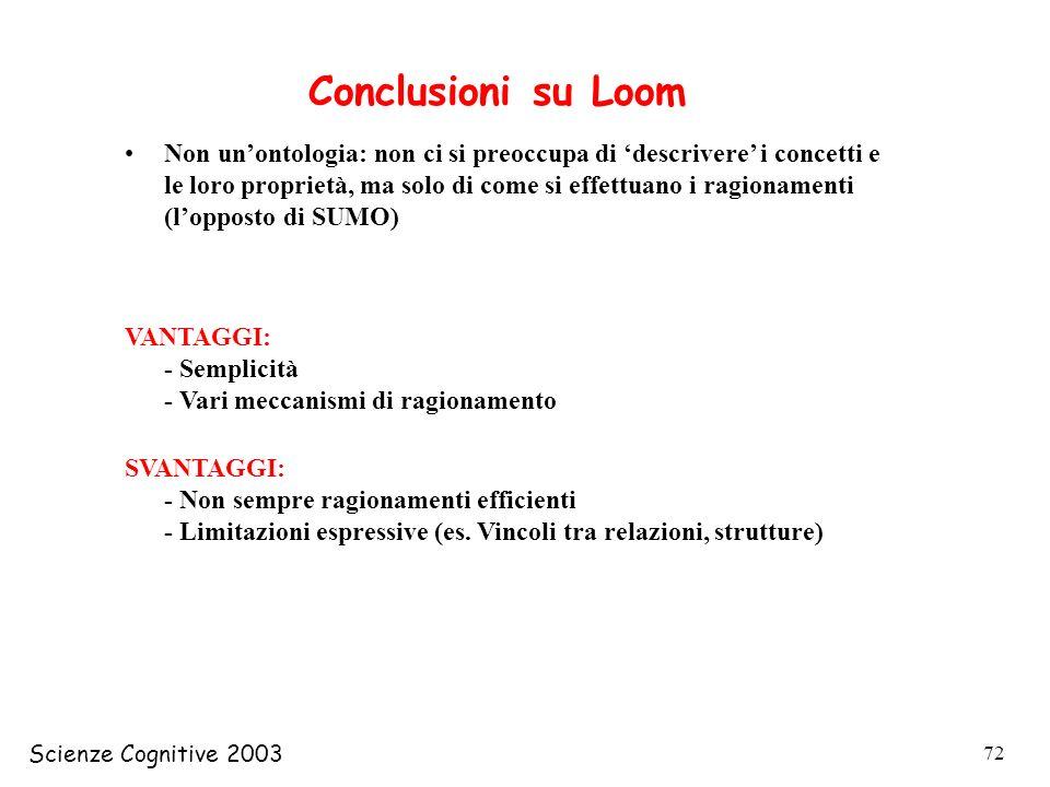 Scienze Cognitive 2003 72 Conclusioni su Loom Non unontologia: non ci si preoccupa di descrivere i concetti e le loro proprietà, ma solo di come si ef