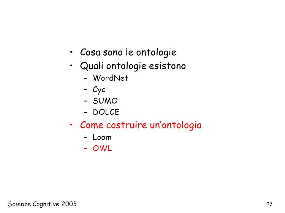 Scienze Cognitive 2003 73 Cosa sono le ontologie Quali ontologie esistono –WordNet –Cyc –SUMO –DOLCE Come costruire unontologia –Loom –OWL