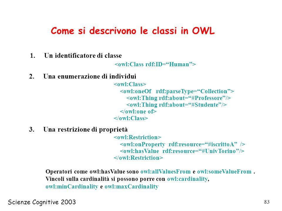 Scienze Cognitive 2003 83 Come si descrivono le classi in OWL 1.Un identificatore di classe 2.Una enumerazione di individui 3.Una restrizione di propr