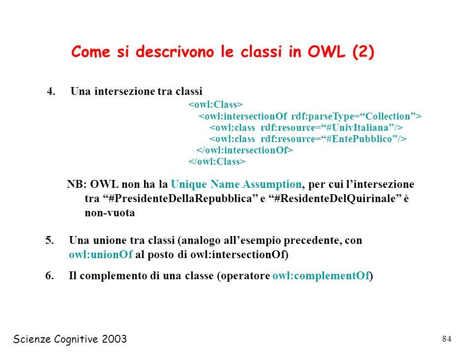 Scienze Cognitive 2003 84 4.Una intersezione tra classi NB: OWL non ha la Unique Name Assumption, per cui lintersezione tra #PresidenteDellaRepubblica