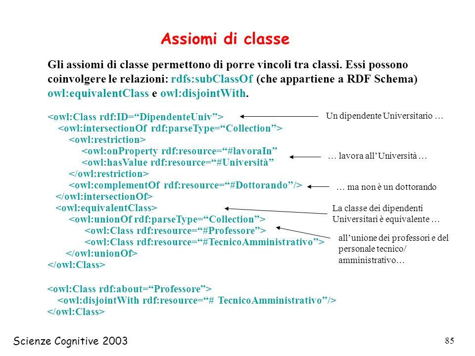 Scienze Cognitive 2003 85 Assiomi di classe Gli assiomi di classe permettono di porre vincoli tra classi. Essi possono coinvolgere le relazioni: rdfs: