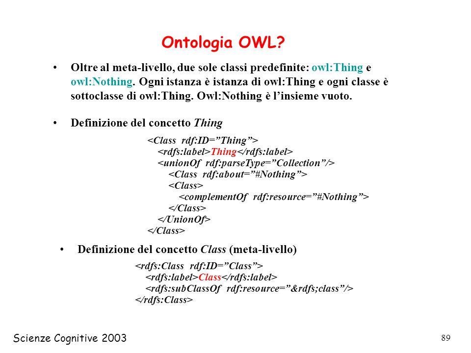 Scienze Cognitive 2003 89 Ontologia OWL? Oltre al meta-livello, due sole classi predefinite: owl:Thing e owl:Nothing. Ogni istanza è istanza di owl:Th