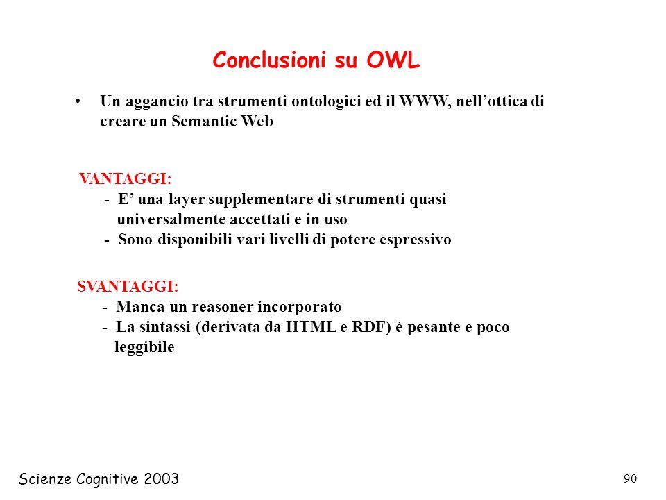 Scienze Cognitive 2003 90 Conclusioni su OWL Un aggancio tra strumenti ontologici ed il WWW, nellottica di creare un Semantic Web VANTAGGI: - E una la