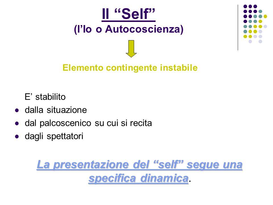 Il Self (lIo o Autocoscienza) Elemento contingente instabile E stabilito dalla situazione dal palcoscenico su cui si recita dagli spettatori La presentazione del self segue una specifica dinamica La presentazione del self segue una specifica dinamica.