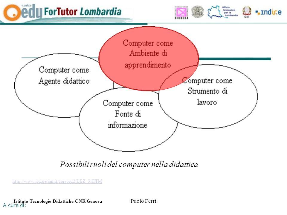 A cura di: Paolo Ferri Possibili ruoli del computer nella didattica http://www.itd.ge.cnr.it/corsotd2/LEZ_3.HTM.Istituto Tecnologie Didattiche CNR Genova