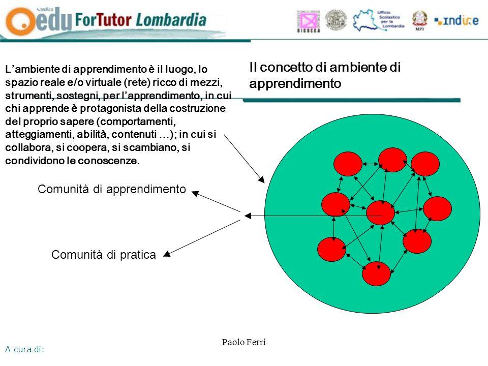 A cura di: Paolo Ferri Il concetto di ambiente di apprendimento Lambiente di apprendimento è il luogo, lo spazio reale e/o virtuale (rete) ricco di mezzi, strumenti, sostegni, per lapprendimento, in cui chi apprende è protagonista della costruzione del proprio sapere (comportamenti, atteggiamenti, abilità, contenuti …); in cui si collabora, si coopera, si scambiano, si condividono le conoscenze.