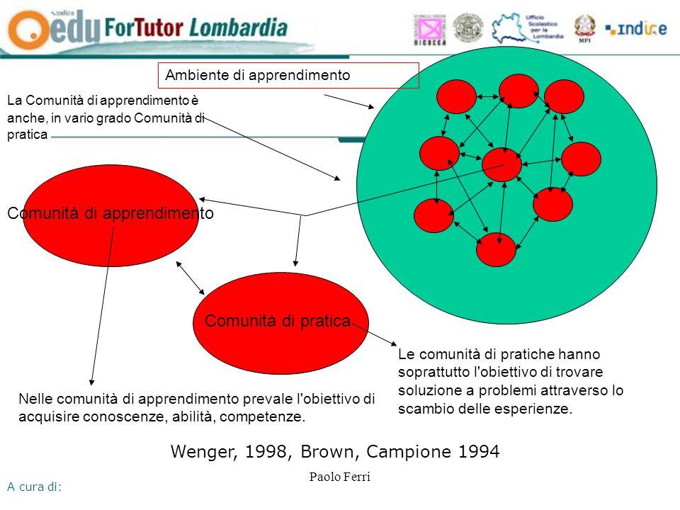 A cura di: Paolo Ferri Ambiente di apprendimento Le comunità di pratiche hanno soprattutto l obiettivo di trovare soluzione a problemi attraverso lo scambio delle esperienze.