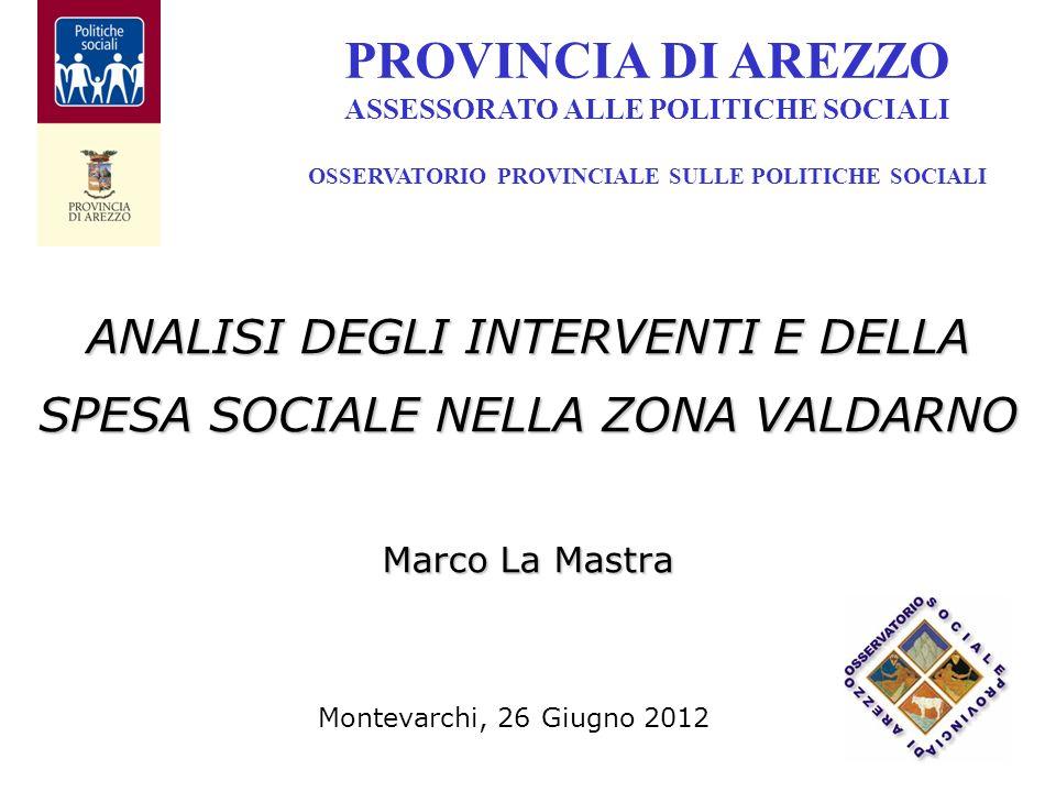 ANALISI DEGLI INTERVENTI E DELLA SPESA SOCIALE NELLA ZONA VALDARNO Marco La Mastra PROVINCIA DI AREZZO ASSESSORATO ALLE POLITICHE SOCIALI OSSERVATORIO PROVINCIALE SULLE POLITICHE SOCIALI Montevarchi, 26 Giugno 2012