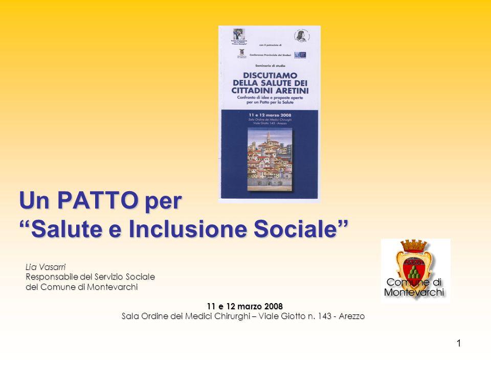 1 Lia Vasarri Responsabile del Servizio Sociale del Comune di Montevarchi 11 e 12 marzo 2008 11 e 12 marzo 2008 Sala Ordine dei Medici Chirurghi – Via