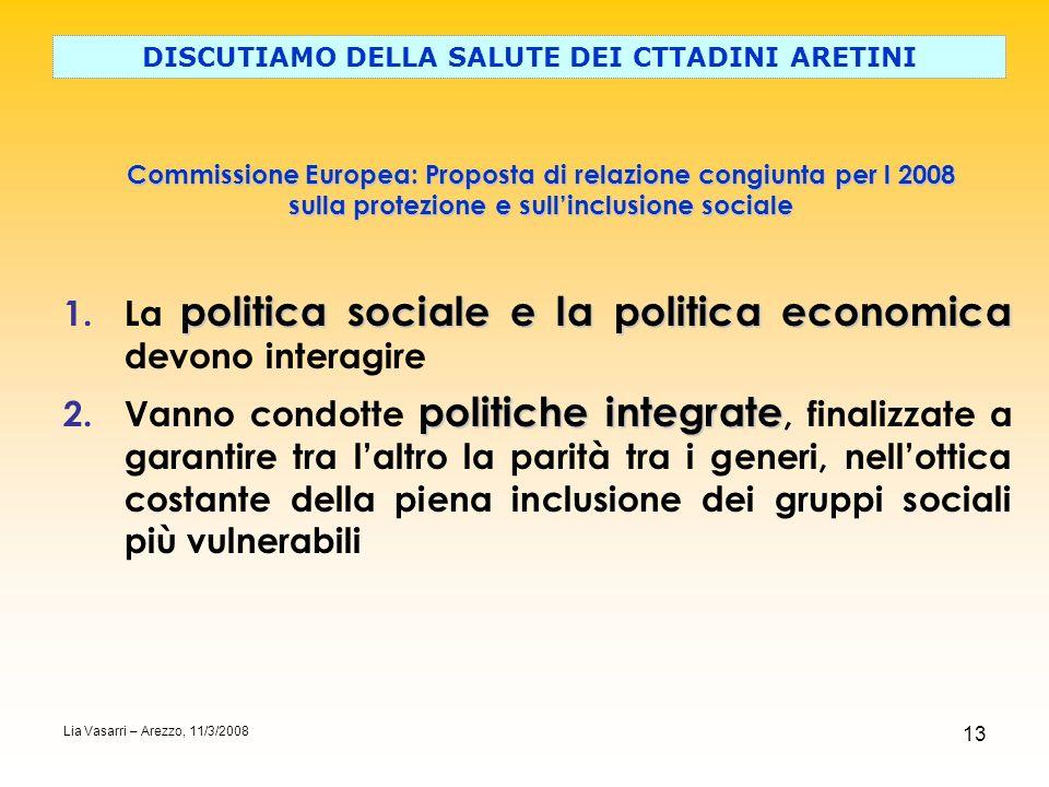 13 Commissione Europea: Proposta di relazione congiunta per l 2008 sulla protezione e sullinclusione sociale DISCUTIAMO DELLA SALUTE DEI CTTADINI ARET
