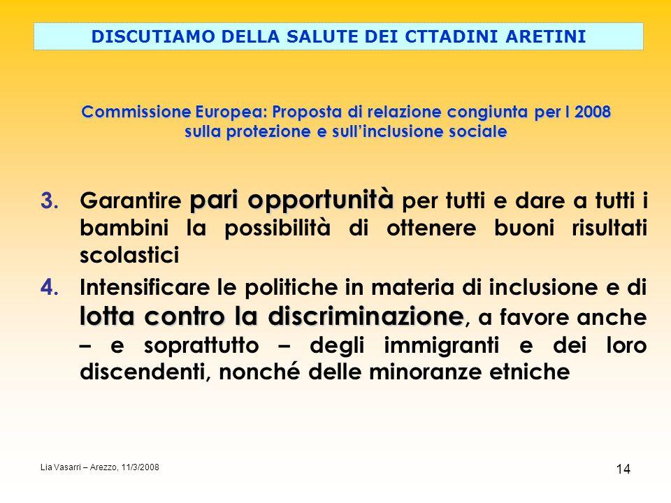 14 Commissione Europea: Proposta di relazione congiunta per l 2008 sulla protezione e sullinclusione sociale DISCUTIAMO DELLA SALUTE DEI CTTADINI ARET