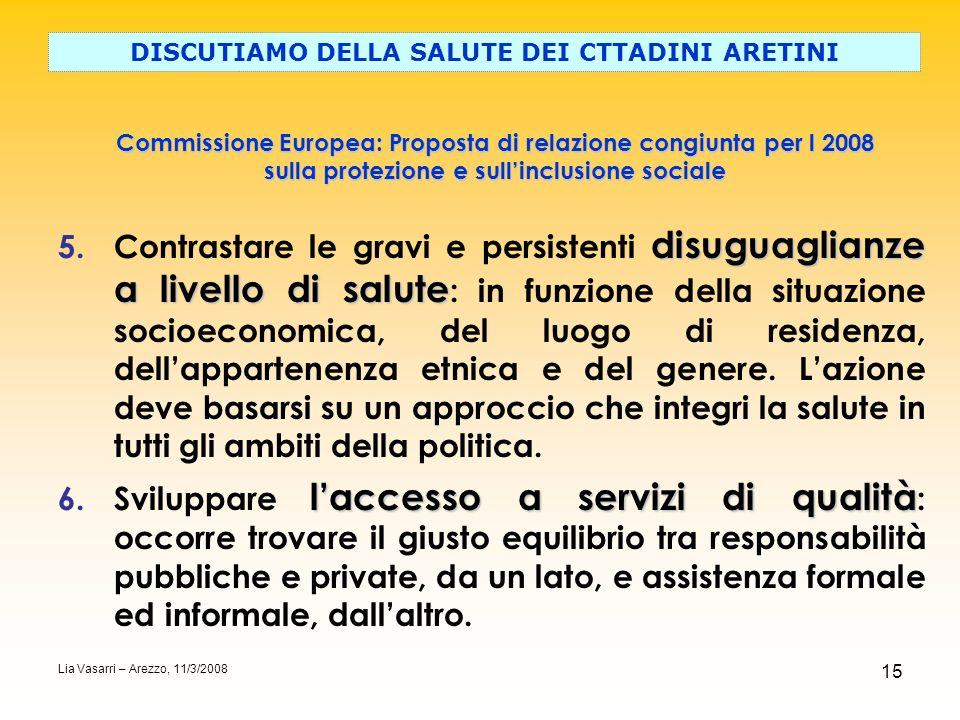 15 Commissione Europea: Proposta di relazione congiunta per l 2008 sulla protezione e sullinclusione sociale DISCUTIAMO DELLA SALUTE DEI CTTADINI ARET