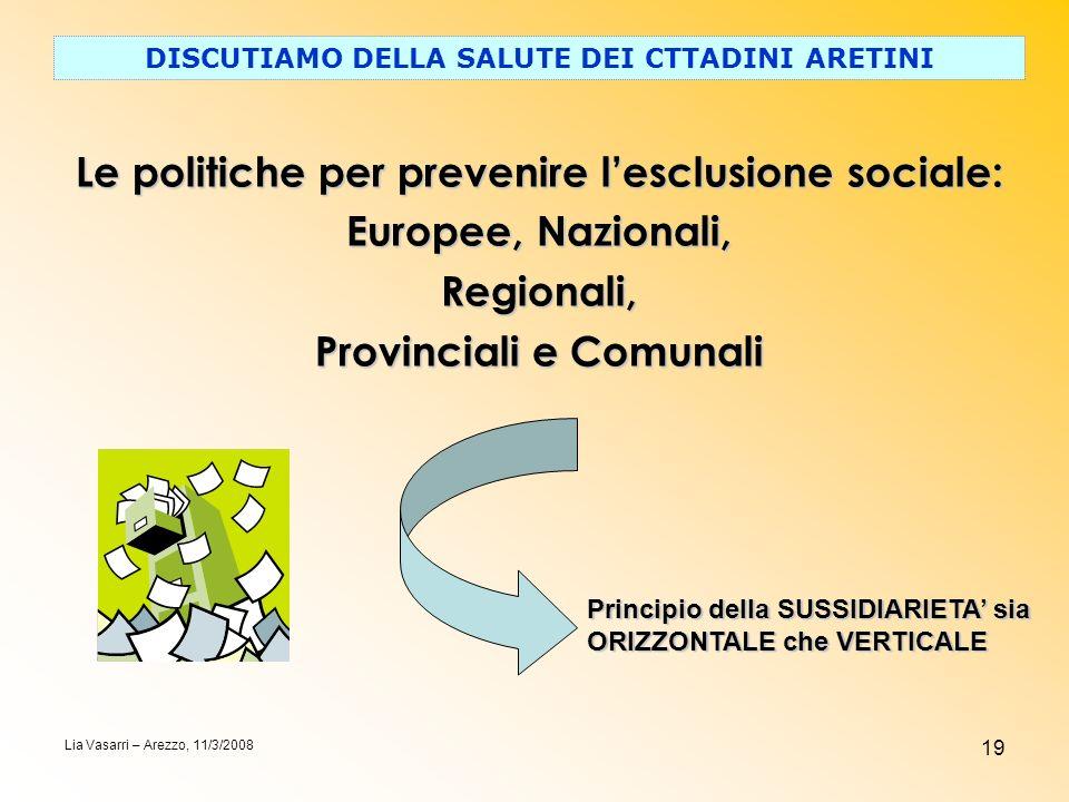 19 DISCUTIAMO DELLA SALUTE DEI CTTADINI ARETINI Lia Vasarri – Arezzo, 11/3/2008 Le politiche per prevenire lesclusione sociale: Europee, Nazionali, Re