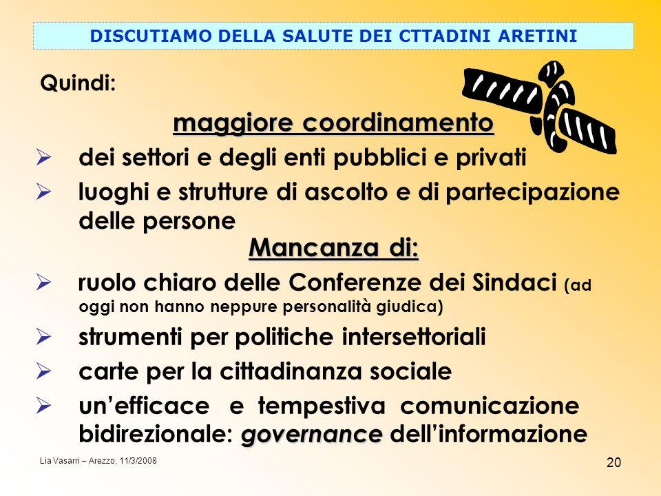 20 DISCUTIAMO DELLA SALUTE DEI CTTADINI ARETINI Quindi: Lia Vasarri – Arezzo, 11/3/2008 maggiore coordinamento dei settori e degli enti pubblici e pri