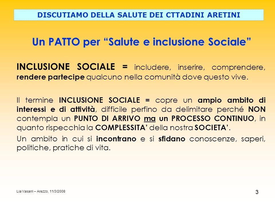 3 Un PATTO per Salute e inclusione Sociale DISCUTIAMO DELLA SALUTE DEI CTTADINI ARETINI Il termine INCLUSIONE SOCIALE = copre un ampio ambito di inter