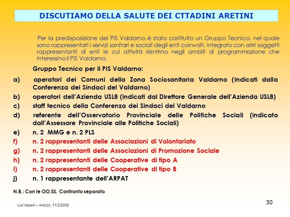 30 Per la predisposizione del PIS Valdarno è stato costituito un Gruppo Tecnico, nel quale sono rappresentati i servizi sanitari e sociali degli enti