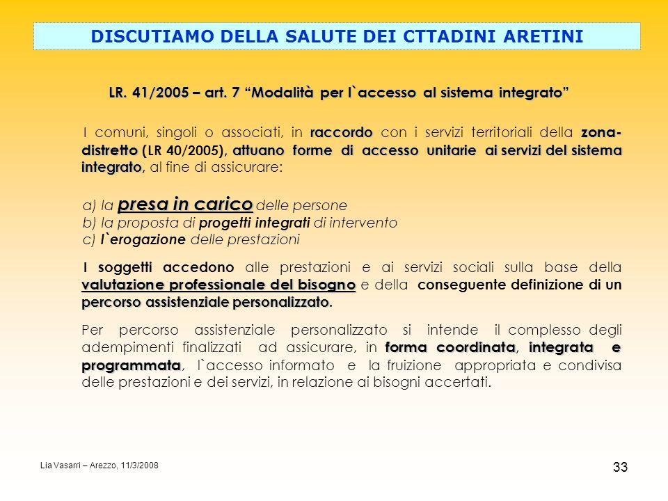 33 DISCUTIAMO DELLA SALUTE DEI CTTADINI ARETINI LR. 41/2005 – art. 7 Modalità per l`accesso al sistema integrato raccordo zona- distretto attuano form