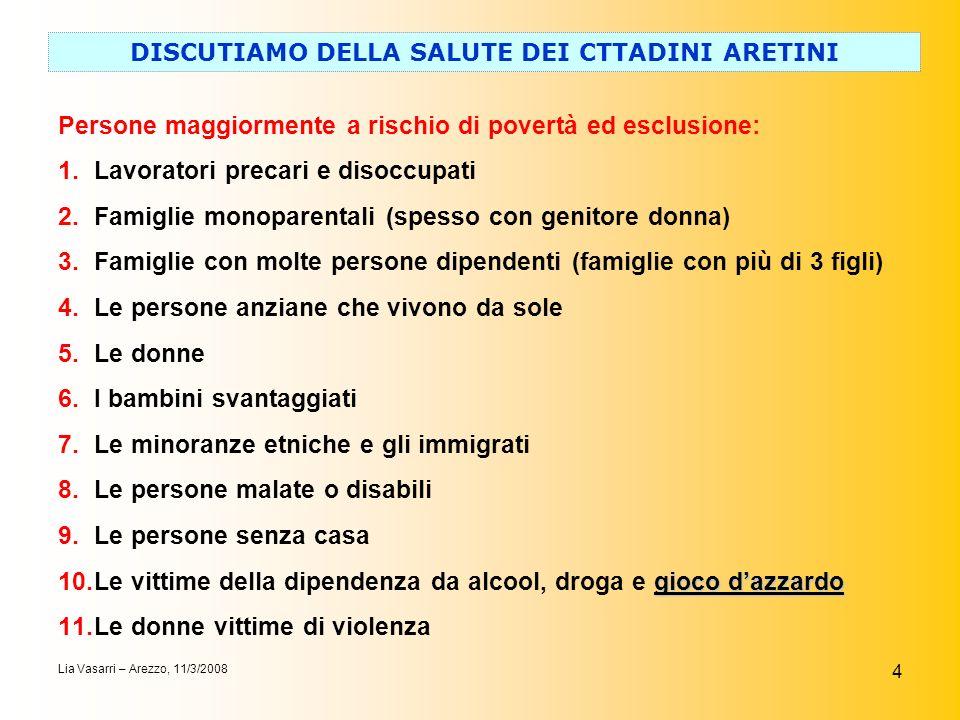 4 DISCUTIAMO DELLA SALUTE DEI CTTADINI ARETINI Lia Vasarri – Arezzo, 11/3/2008 Persone maggiormente a rischio di povertà ed esclusione: 1.Lavoratori p