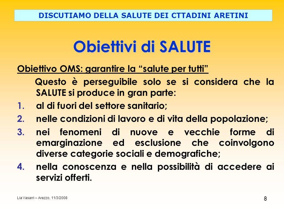 8 Obiettivi di SALUTE DISCUTIAMO DELLA SALUTE DEI CTTADINI ARETINI Lia Vasarri – Arezzo, 11/3/2008 Obiettivo OMS: garantire la salute per tutti Questo