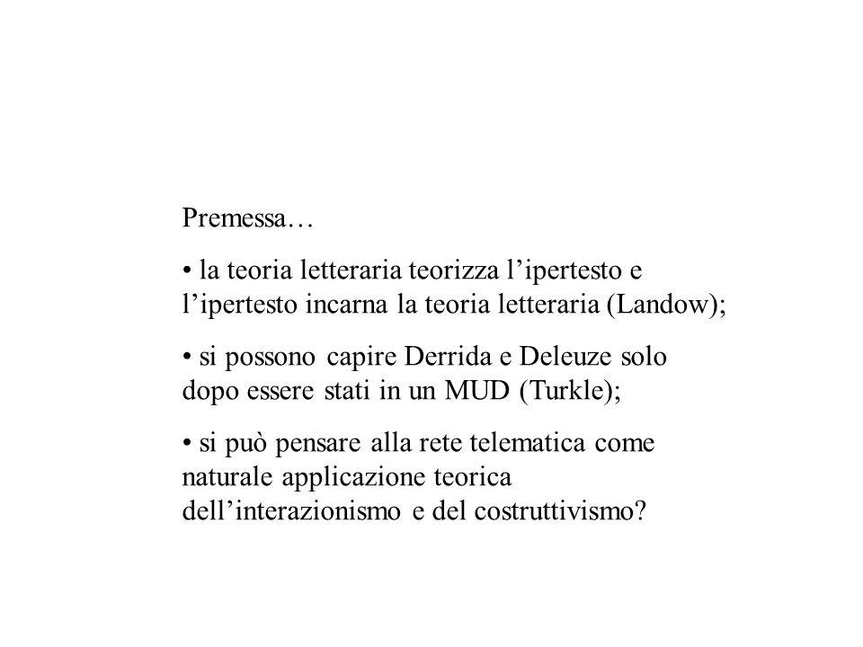 Premessa… la teoria letteraria teorizza lipertesto e lipertesto incarna la teoria letteraria (Landow); si possono capire Derrida e Deleuze solo dopo e