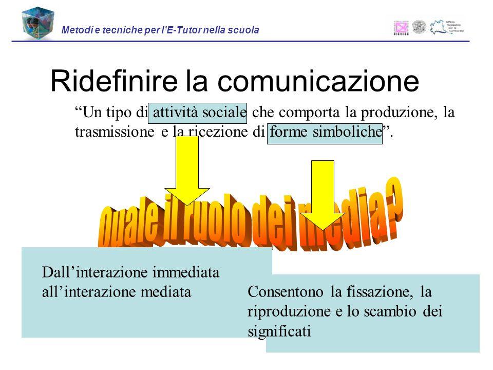 Ridefinire la comunicazione Metodi e tecniche per lE-Tutor nella scuola Un tipo di attività sociale che comporta la produzione, la trasmissione e la ricezione di forme simboliche.