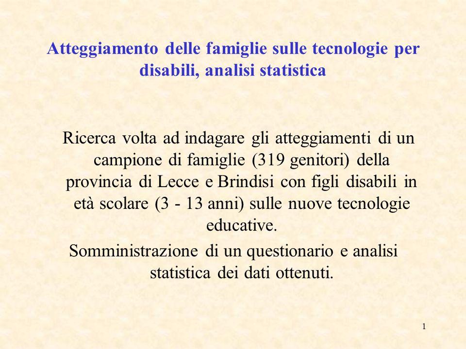 1 Atteggiamento delle famiglie sulle tecnologie per disabili, analisi statistica Ricerca volta ad indagare gli atteggiamenti di un campione di famiglie (319 genitori) della provincia di Lecce e Brindisi con figli disabili in età scolare (3 - 13 anni) sulle nuove tecnologie educative.